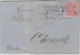 NDP - 1 Gr. Gez. Ra3 Lindenau B. Leipzig Brief N. Chemnitz 1869 - North German Conf.