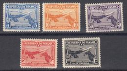 Panama Poste Aerienne 1930 Yvert 10 / 14 * Neufs Avec Charniere - Panamá