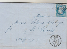 Yvert 14 4 Marges Lettre Belle Facture Brun Bonnefous MENDE Lozère 23/10/1859 PC 1957pour St Geniez Aveyron - 1849-1876: Periodo Classico