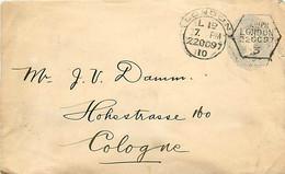 UK. Stamped To Order Env. ES 21a (Huggins) (92 X 150 Mm) London L 1D (hooded For Late Fee) > Köln  22/10/97 - Postmark Collection