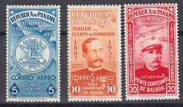 Panama Poste Aerienne 1937 Yvert 33 / 35 * Neufs Avec Charniere. Cinquantenaire Du Corps Des Pompiers - Panama