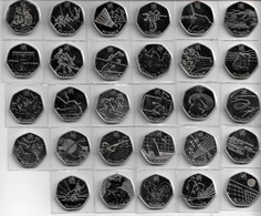 GREAT BRITAIN - Olympic 50p Coins Fifty Pence - London 2012 Games - ALL 29 COIN SET - BU SUPERB MINT CONDITION (G#10) - 50 Pence
