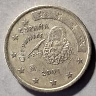 2001 -  SPAGNA  - MONETA IN EURO - DEL VALORE DI  50  CENTESIMI  - CIRCOLATA - Spanien