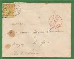 1892 - MARITIME - LIGNE T PAQ.FR N°? Cachet Rouge -  NOUMEA ( Nouvelle CALEDONIE) Via GRAY ( Haute Saone ) - Poste Maritime
