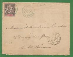 1894 - MARITIME - LIGNE ? PAQ.FR N°6 Cachet Noir -  NOUMEA ( Nouvelle CALEDONIE) Via GRAY ( Haute Saone ) - Maritieme Post