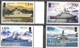 SOUTH GEORGIA, 2020, MNH, SHIPS, WAR SHIPS, MOUNTAINS, 4v - Barche