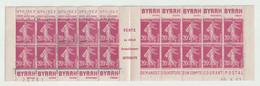 Semeuse N°190 Carnet De 20 Timbres  20c Lilas Rose Avec Bande Publicitaire, Daté - 1906-38 Säerin, Untergrund Glatt