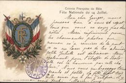 CP Colonie Française De Bâle Fête Nationale 14 Juillet Drapeau Français RF CAD Violet Casino D'été Bâle 14 7 1902 Suisse - Briefe U. Dokumente