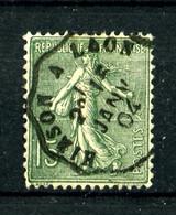 """130 - 15c Vert Semeuse Lignée - Oblitéré Ambulant """"HIRSON à LAON""""- Très Beau - 1903-60 Semeuse A Righe"""