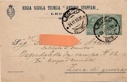 LECCO - Cartolina Commerciale REGIA SCUOLA TECNICA ANTONIO STOPPANI - POSTA MILITARE - VIAGGIATA 1916 - (rif. Q39) - Lecco