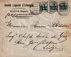 14-18 TP Germania OC2  (3) /L Société D'Estampage SCLESSIN  Obl LÜTTICH LIEGE 23 X 1916  (de 20,1 à 40g)  Pas Censurée ! - [OC1/25] Gen. Gouv.