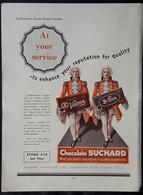Publicité Papier 1933 In English Chocolat SUCHARD Velma Bittra LONDON 22, 5 X 30 Cm - Chocolat