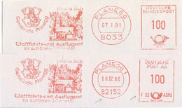924  Hibou: 2 Ema D'Allemagne, 1991 - Owl  Meter Stamps From Planegg, Germany - Owls