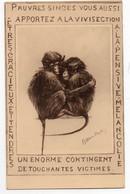 ILLUSTRATEUR Signé * VIVISECTION * SINGES * Ern.Thill, Bruxelles - Monkeys