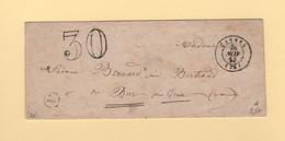 Cannes - 78 - Var - 26 Nov 1855 - Boite Rurale A - Taxe Double Trait 30 - Sans Correspondance - 1849-1876: Klassieke Periode