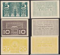 ESTLAND-ESTONIA-EESTI 5,10+20 Penni Banknoten 1919 Pick 39-41 AUNC (1-)   (13948 - Estonia