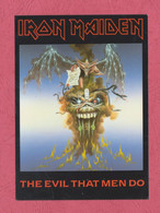 Iron Maiden-The Evil That Men Do. Heavy Metal Band- Standard Size, Divided Back, New. Ed. Reflex Marketing Ltd N°338. - Música Y Músicos