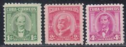 Cuba, Scott #519-520, 521A, Mint Hinged/No Gum, Famous Cubans, Issued 1954 - Unused Stamps