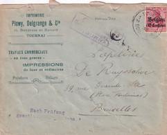 "14-18 TP Germania OC3 /L IMPRIMERIE Plowy Delgrange Bvd Hainaut 16 TOURNAI Obl 1916  ""Nach Prüfung Geschlossen Censure - [OC1/25] Gen. Gouv."