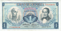 Colombie - Billet De 1 Peso - Simon Bolivar & Francisco De Paula Santander - 7 Août 1974 - P404e - Colombia