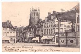 BERGUES - La Grand'Place Et L'Eglise (carte Animée) - Bergues