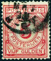 """Nederland 1884 Michel-# Postbewijs 6 """" VIJF Gulden Postbewijs-Zegel Gebruikt """" Michel ~7 € - Postage Due"""
