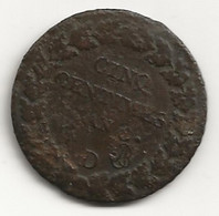 5 Centimes - An 8 D - B/TB - 1789-1795 Monnaies Constitutionnelles