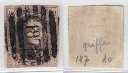 """Médaillon - N°10 Touché Obl P187 (8 Barres) """"Lanklaer"""". TB - 1858-1862 Médaillons (9/12)"""