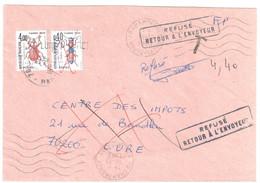 CHAMPAGNEY 70 Hte Saône Lettre FP Franchise Postale Impots REFUSE Retour Envoyeur Taxe Insectes Yv T108 110 Dest Lure - 1960-.... Storia Postale
