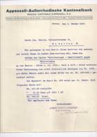 """Schreiben  """"Appenzell Ausserrhodische Kantonalbank, Herisau""""        1922 - Svizzera"""
