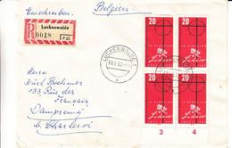 Allemagne - République Démocratique - Lettre Recom De 1962 - Oblit Luckenwalde - Lidice - Bloc De 4 Avec Chiffres - Brieven En Documenten