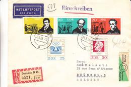 Allemagne - République Démocratique - Lettre Recom De 1963 - Oblit Dresden - Jeux Olympiques - Pierre De Coubertin - Brieven En Documenten