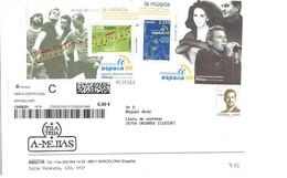 ESPAÑA CARTA CIRCULADA A ANDORRA 2 BONITAS HOJITAS  (N.V.1) - 2001-10 Brieven