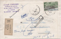 Lettre Recommandée D'Algérie, Affranchissement Timbre Français (n°1240: Viaduc De Chaumont, Oblitéré: Alger-RP,14/12/61) - Andere