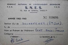 H 10 Facture/document /lettre / Carte Syndicat De L'enseignement - Altri