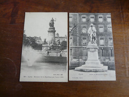 LYON (lot De 2 Cartes) - 229 Monument De La République Par Peynot (1890) & Statue Se Bernard De Jussieu - Unclassified
