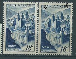 """[48] Variété : N° 805 Conques """"sous Les Bombes"""" + Normal ** - Varieties: 1950-59 Mint/hinged"""