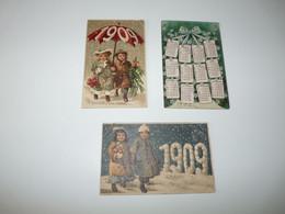 LOT 3 CPA GAUFREES NOUVEL AN ANNEE 1905 ET 1909 PETIT PRIX A VOIR !!! N° 1 - Neujahr
