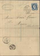 YT 60 Cérès Mâcon 28 4 1876 Début Oblitération CAD Sur Timbre Facture Manufacture Cuivre Et Bronze Fortoul Thévenin - 1849-1876: Classic Period