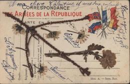 Guerre 14 18 CP Correspondance Armées De La République 6 Drapeaux Fleurs Et Plantes Séchées Mail Art Janvier 1915 - WW I