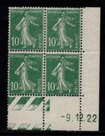FRANCE N°159* TYPE SEMEUSE COIN DATE DU 9/12/22 - ....-1929