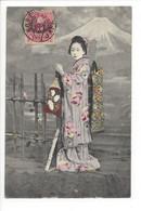 27295 - Superbe Geisha Devant Mont Fuji Cachet Kobe - Other