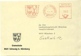 126  Abeille, Blason: Ema D'Allemagne - Bees In Coat Of Arms Of Schwaig, Germany. Meter Stamp Bee Honey Miel Apiculture - Honeybees