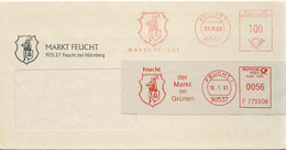 126  Ruche, Abeille: 2 Ema D'Allemagne - Beehive In Coat Of Arms: Meter Stamps From Feucht. Bee Honey Miel Apiculture - Honeybees