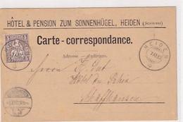 Heiden - Werbekarte Hotel Zum Sonnenhügel - 1880 !!!       (10522) - AR Appenzell Rhodes-Extérieures