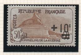 Timbre Neuf YT 167 - 10c. Sur 50+50c. Brun Clair - 1922 - Au Profit Des Orphelins De Guerre - Trace De Charnière - Ungebraucht