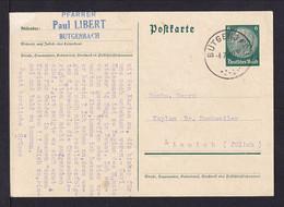 BELGIEN - 1940 - 6 Pf. Ganzsache Ab BUTGENBACH Nach Linnich - Occupation 1938-45