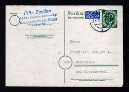1953 - 10 Pf. Doppel-Ganzsache (P 14II) Ab Germersheim Nach Unkenbach - BEDARF - Covers & Documents