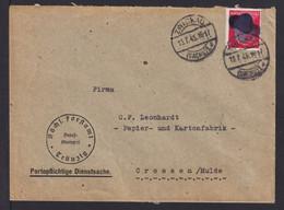1945 -  12 Pf. Hitler Geschwärzt  Auf Dienst-Brief Ab Zwickau - Soviet Zone