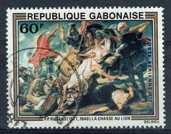Gabon, 60f, Rubens La Chasse Au Lion, 1977, Obl, TB poste Aérienne - Gabun (1960-...)